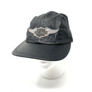 Harley Davidson Leather Baseball Cap Made in USA